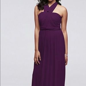Long Mesh Style-Your-Way 6 Tie Bridesmaid Dress